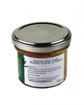Mousse d'ail confit Menthe fraîche et Piment