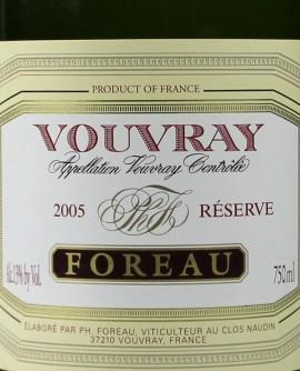 Vouvray Brut Méthode Traditionnelle Réserve 2005 Foreau